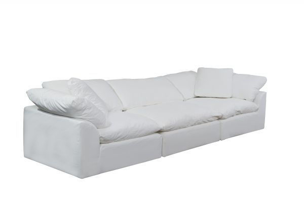 Picture of Sunset Trading Cloud Puff 3 Piece Modular Sofa Slipcover | Performance Fabric | White