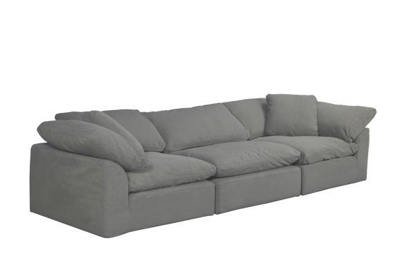 Picture of Sunset Trading Cloud Puff 3 Piece Modular Sofa Slipcover | Performance Fabric | Gray