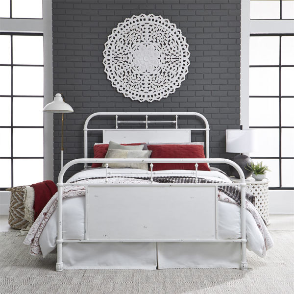 Picture of QUEEN METAL BEDFRAME:  ANTIQUE WHITE FINISH